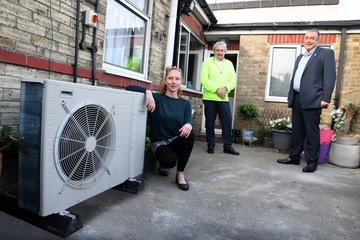 left to right Charlotte Wilson, Cllr Kevin Shaw and Erik Coates from 0800 Repair