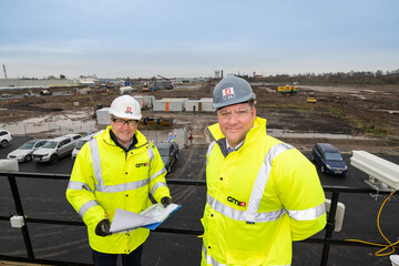 GMI Construction Divisional Managing Director, Lee Powell (right) pictured onsite with colleague, Mike Kershaw