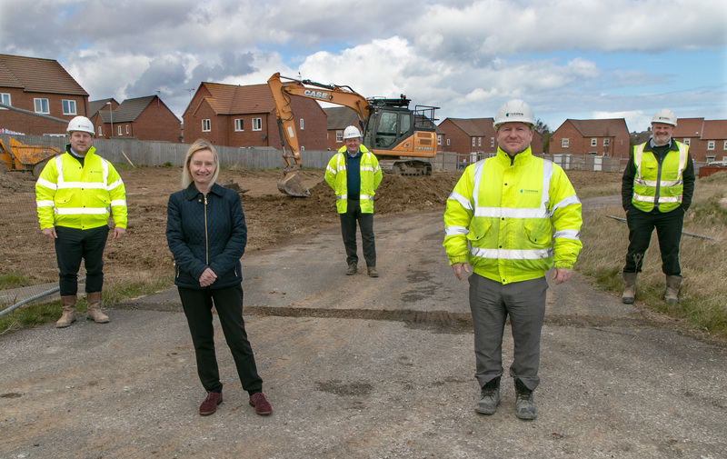 Work is now under way on Beyond Housing's £16m development of 113 new homes for sale at Mill Meadows, Filey. Pictured (from left).. Termrim Construction Quantity Surveyor Barry Stockman, Beyond Housing Development Manager Karen Howard, Termrim Constructio